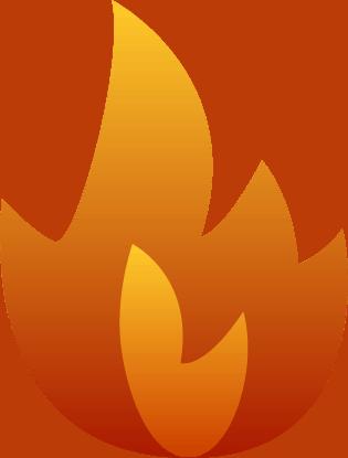 Tegnet flamme i varme orange farver