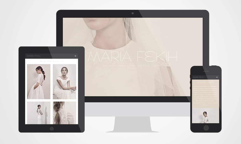 Maria Fekih website vist på stor skærm, tablet og smartphone
